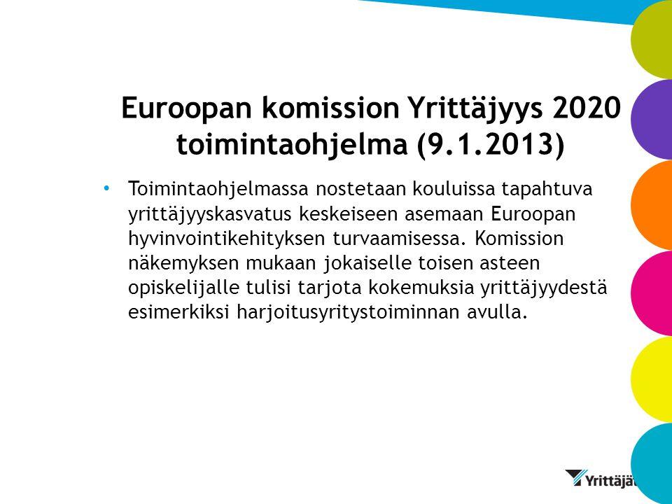 Euroopan komission Yrittäjyys 2020 toimintaohjelma (9.1.2013)