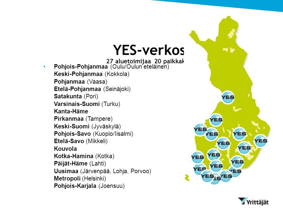 YES-verkosto 27 aluetoimijaa 20 paikkakunnalla
