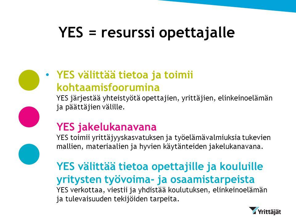 YES = resurssi opettajalle