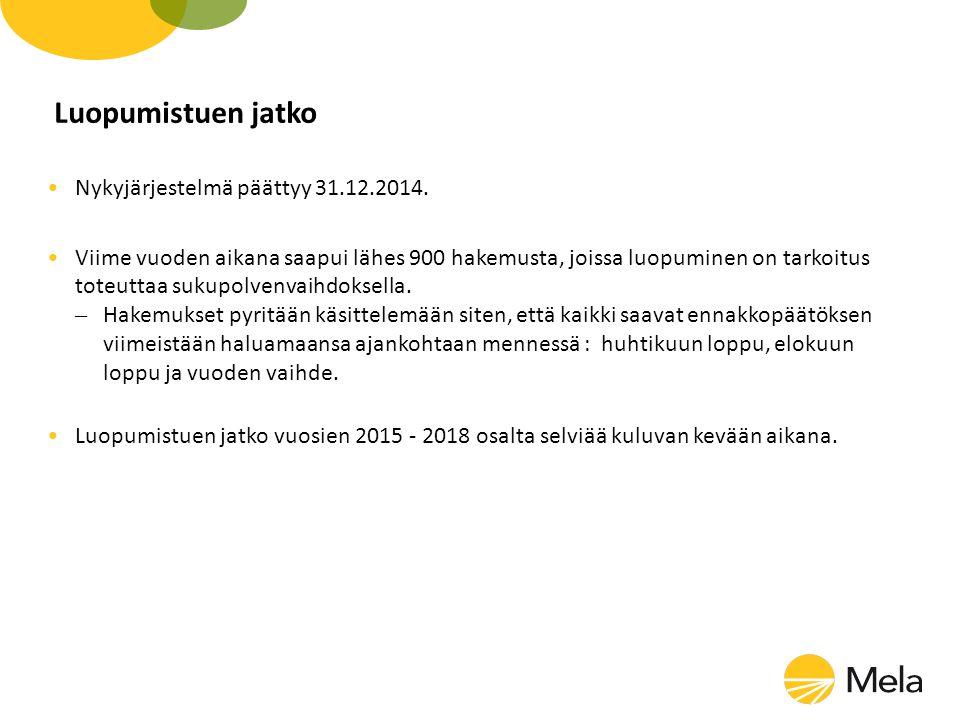 Luopumistuen jatko Nykyjärjestelmä päättyy 31.12.2014.