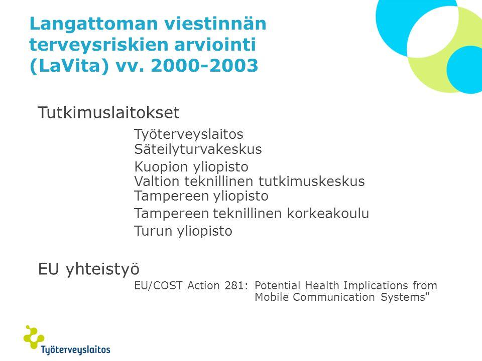 Langattoman viestinnän terveysriskien arviointi (LaVita) vv. 2000-2003