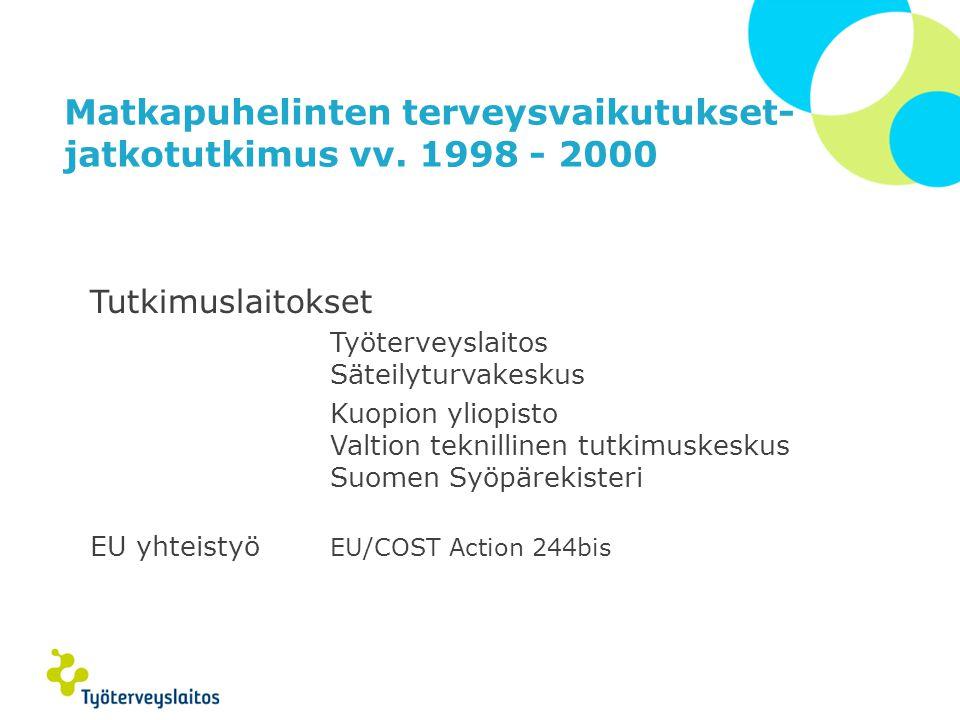 Matkapuhelinten terveysvaikutukset- jatkotutkimus vv. 1998 - 2000