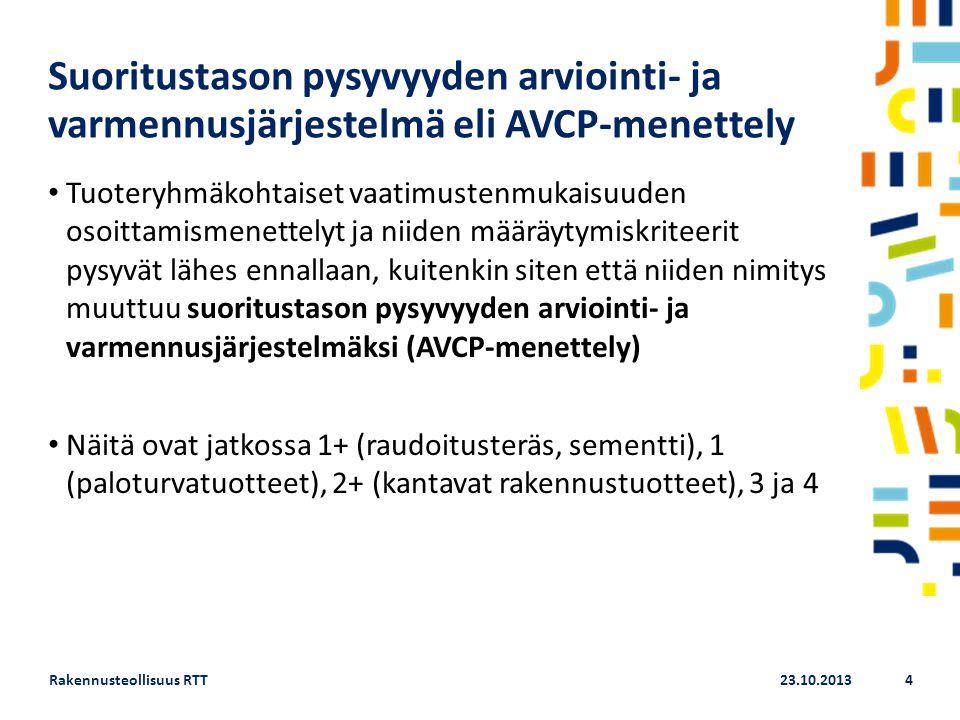 Suoritustason pysyvyyden arviointi- ja varmennusjärjestelmä eli AVCP-menettely