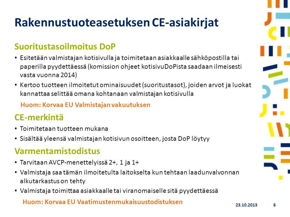 Rakennustuoteasetuksen CE-asiakirjat