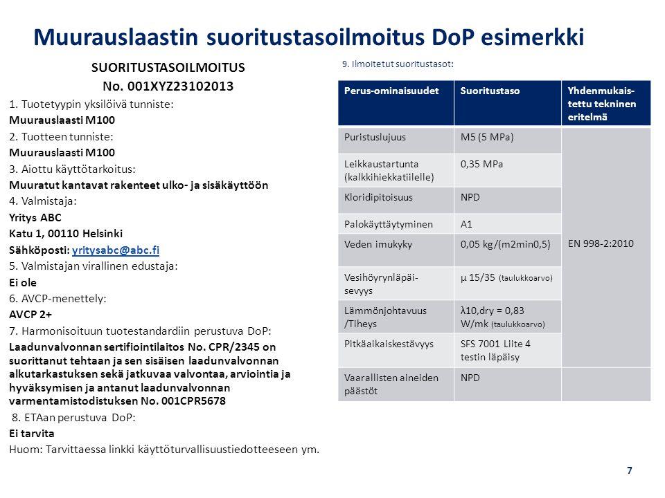 Muurauslaastin suoritustasoilmoitus DoP esimerkki