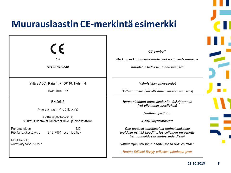 Muurauslaastin CE-merkintä esimerkki