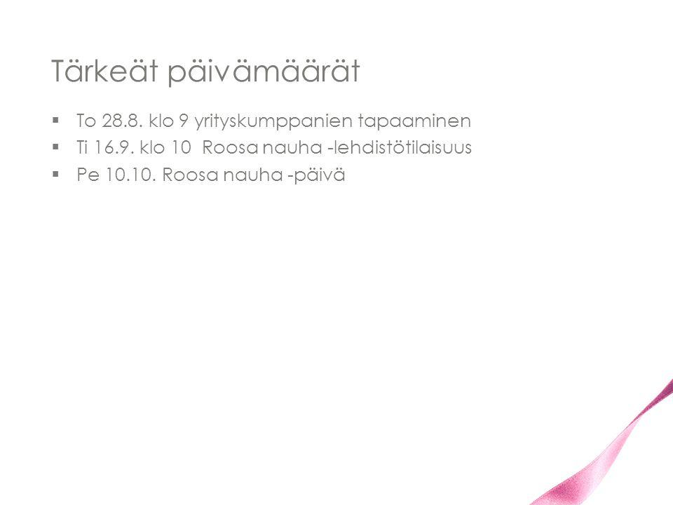 Tärkeät päivämäärät To 28.8. klo 9 yrityskumppanien tapaaminen