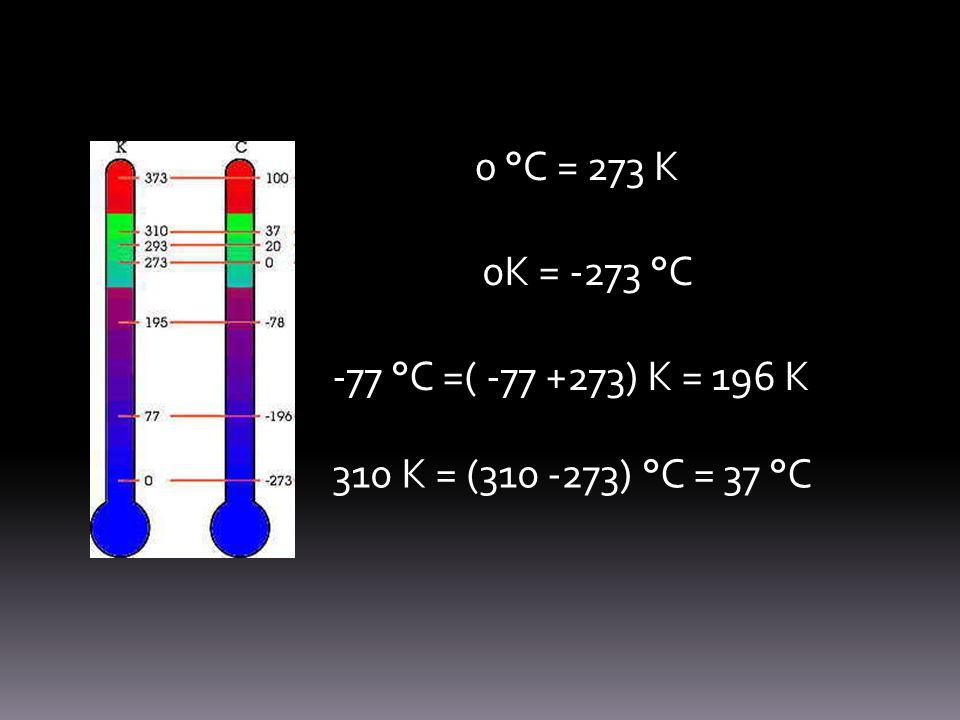 0 °C = 273 K 0K = -273 °C -77 °C =( -77 +273) K = 196 K 310 K = (310 -273) °C = 37 °C