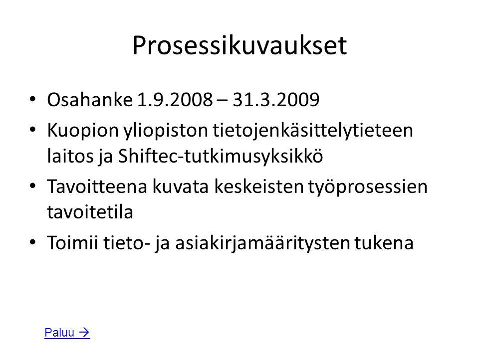 Prosessikuvaukset Osahanke 1.9.2008 – 31.3.2009