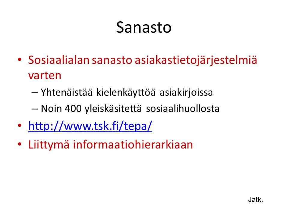 Sanasto Sosiaalialan sanasto asiakastietojärjestelmiä varten