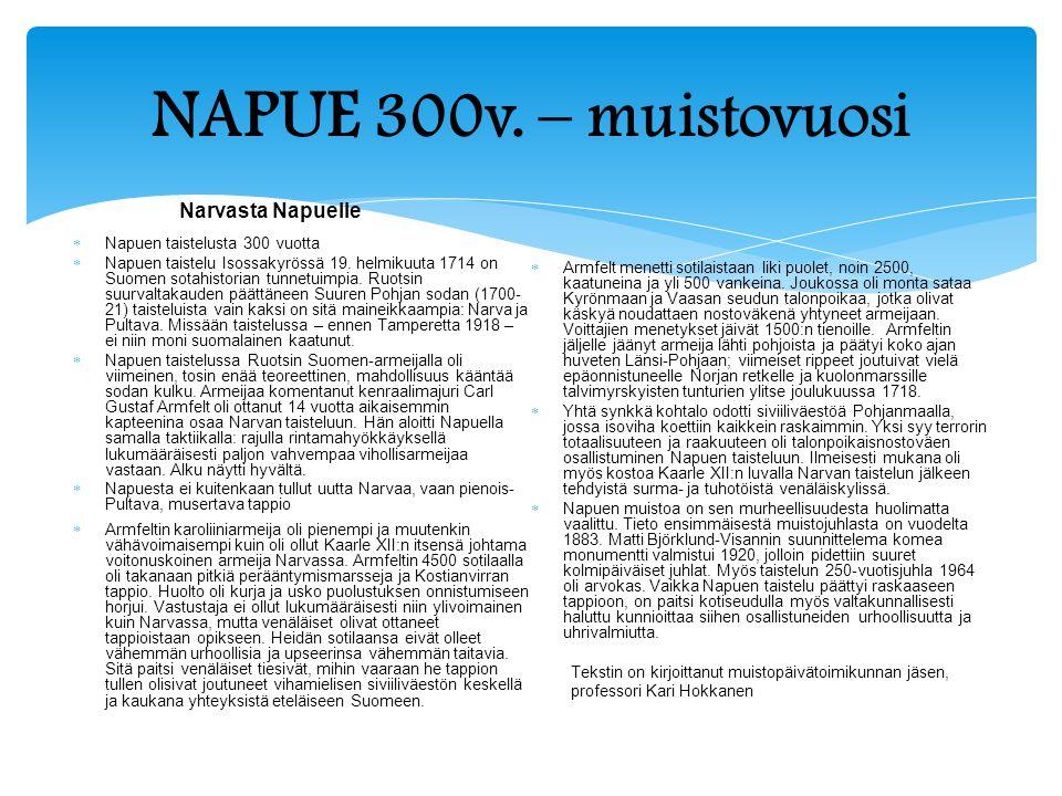 NAPUE 300v. – muistovuosi Narvasta Napuelle