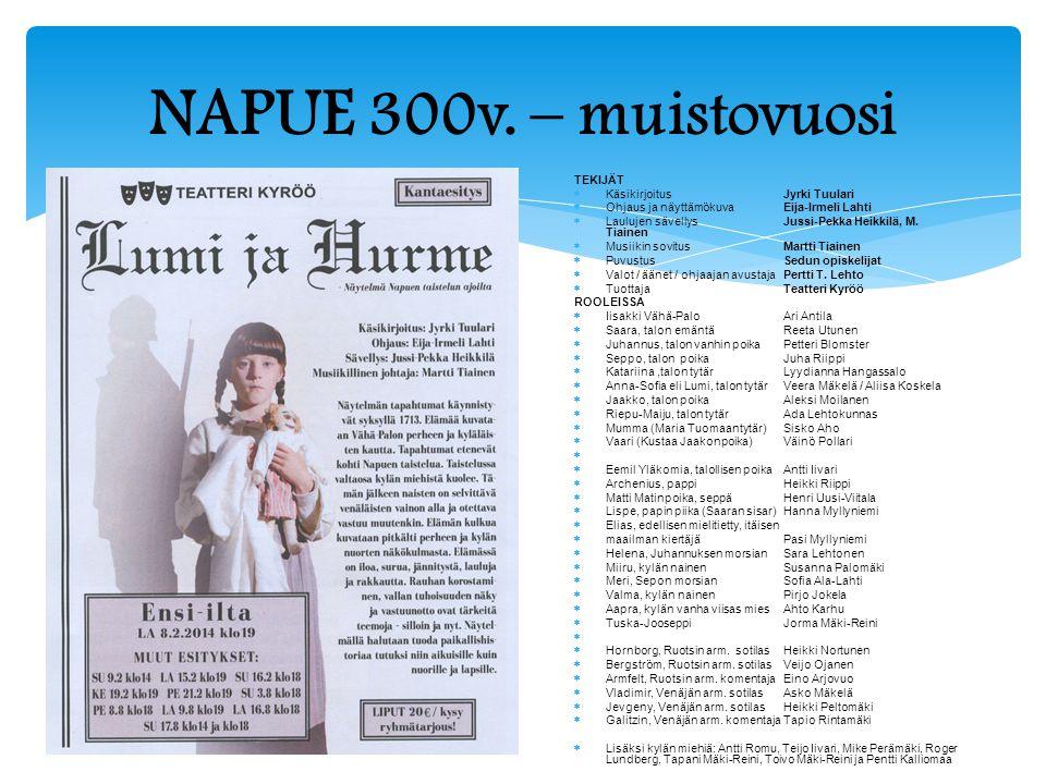 NAPUE 300v. – muistovuosi TEKIJÄT Käsikirjoitus Jyrki Tuulari