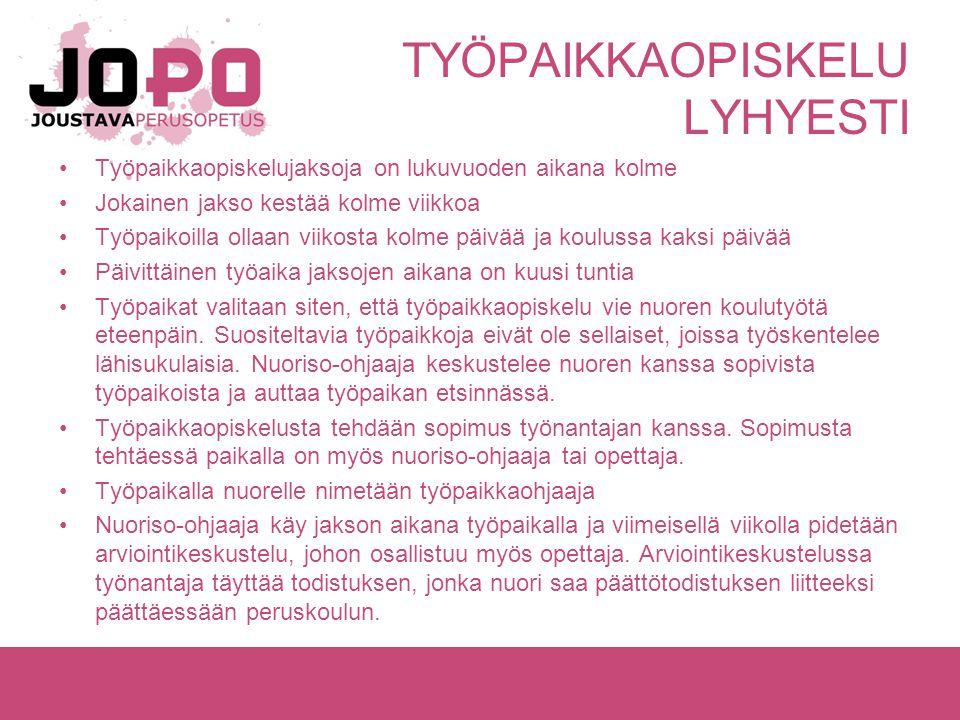 TYÖPAIKKAOPISKELU LYHYESTI