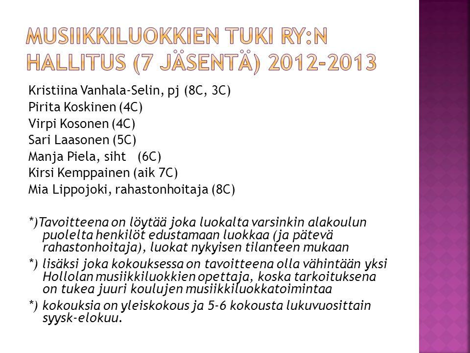 Musiikkiluokkien tuki ry:n hallitus (7 jäsentä) 2012-2013