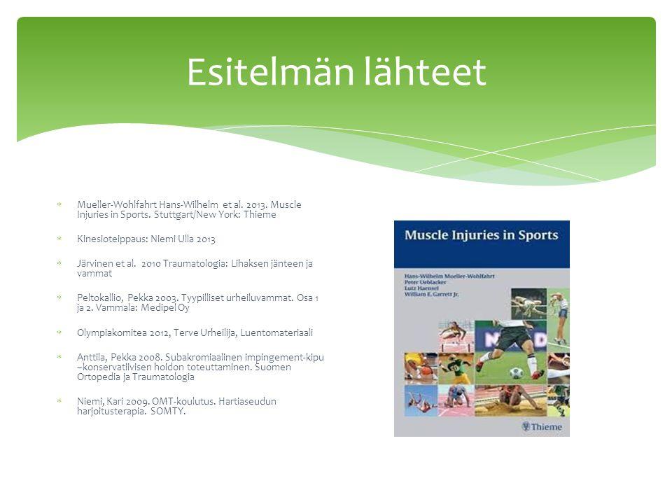 Esitelmän lähteet Mueller-Wohlfahrt Hans-Wilhelm et al. 2013. Muscle Injuries in Sports. Stuttgart/New York: Thieme.