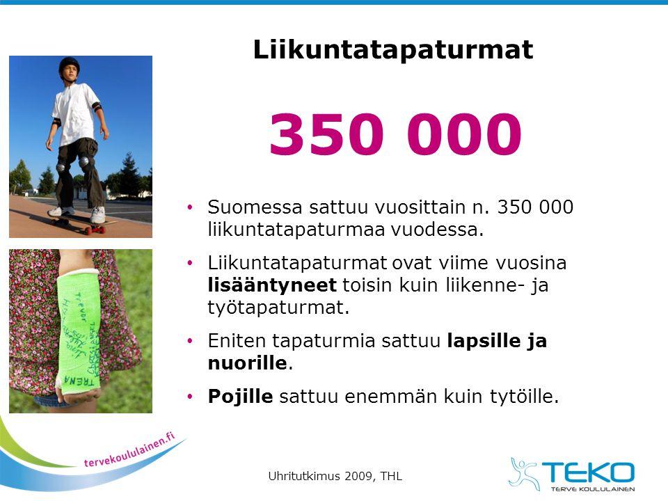 Liikuntatapaturmat 350 000. Suomessa sattuu vuosittain n. 350 000 liikuntatapaturmaa vuodessa.