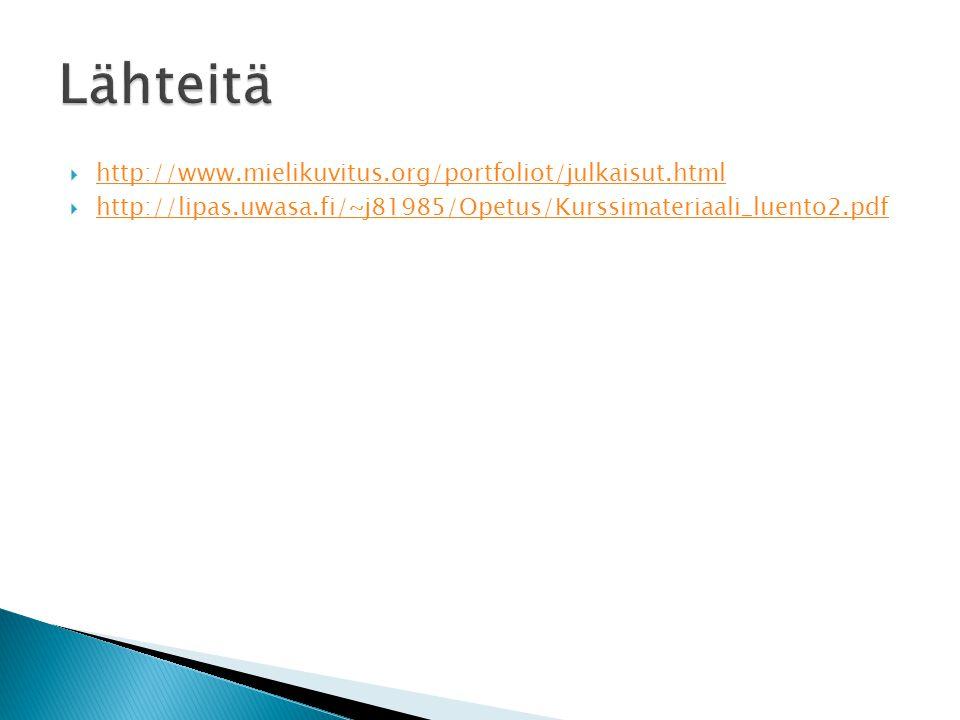 Lähteitä http://www.mielikuvitus.org/portfoliot/julkaisut.html