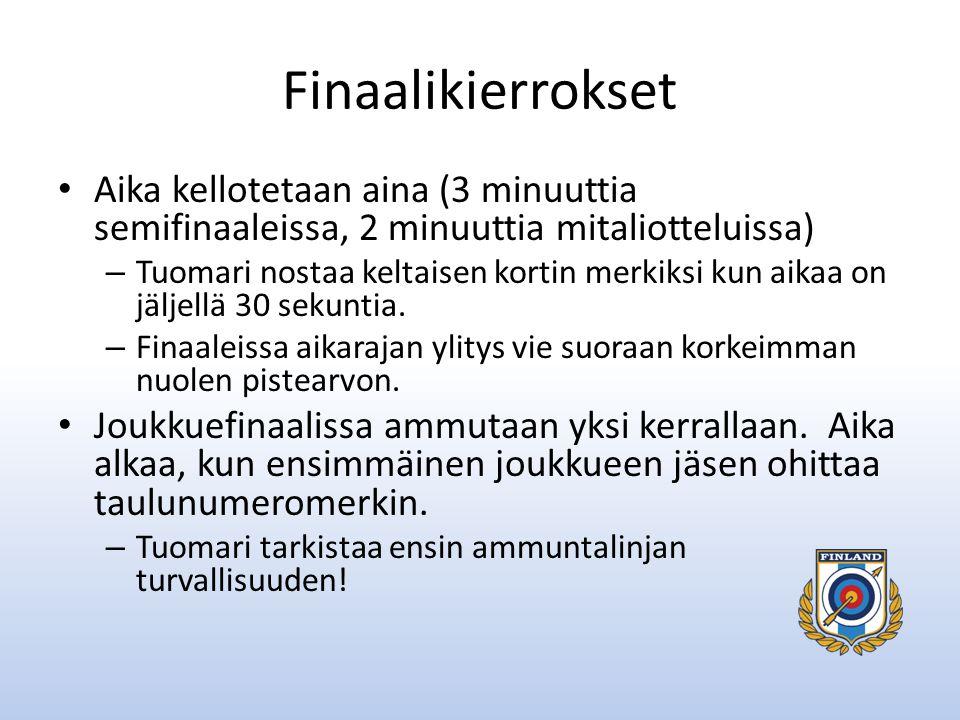 Finaalikierrokset Aika kellotetaan aina (3 minuuttia semifinaaleissa, 2 minuuttia mitaliotteluissa)