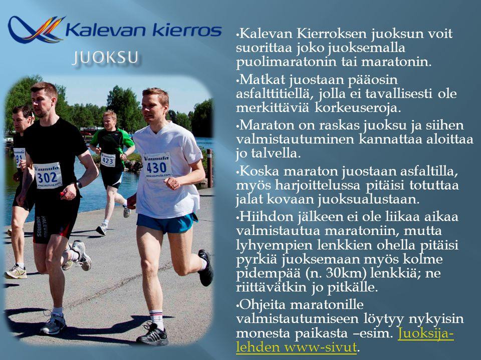 Kalevan Kierroksen juoksun voit suorittaa joko juoksemalla puolimaratonin tai maratonin.