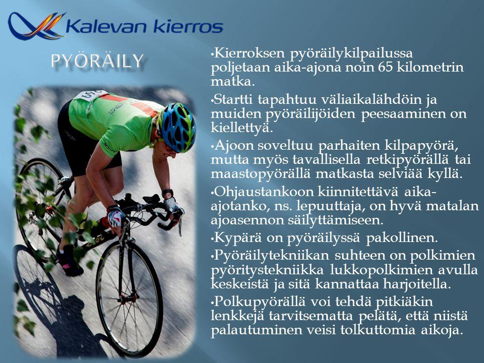 Kierroksen pyöräilykilpailussa poljetaan aika-ajona noin 65 kilometrin matka.