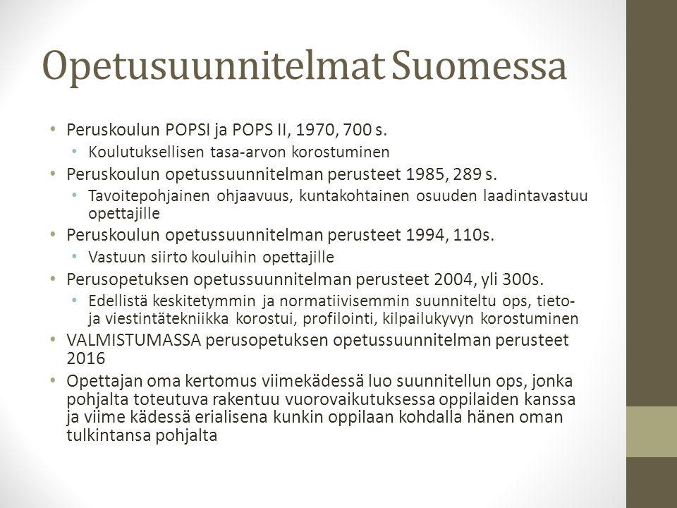 Opetusuunnitelmat Suomessa