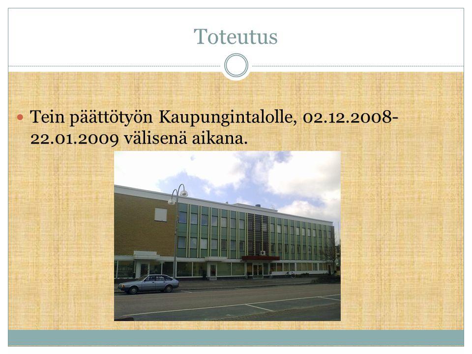 Toteutus Tein päättötyön Kaupungintalolle, 02.12.2008-22.01.2009 välisenä aikana.