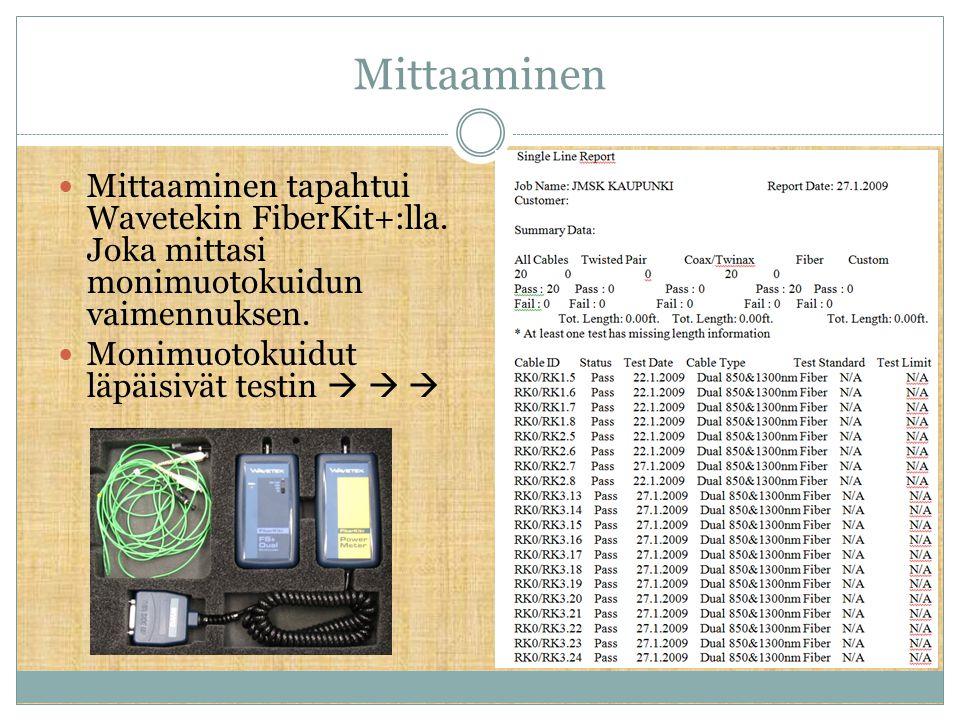 Mittaaminen Mittaaminen tapahtui Wavetekin FiberKit+:lla. Joka mittasi monimuotokuidun vaimennuksen.