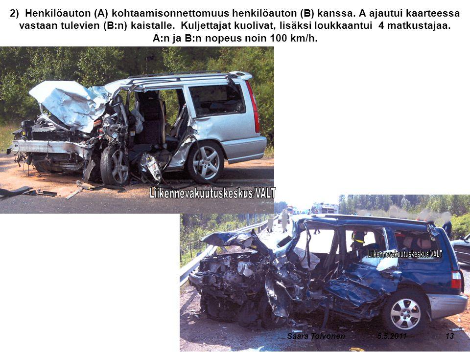 2) Henkilöauton (A) kohtaamisonnettomuus henkilöauton (B) kanssa