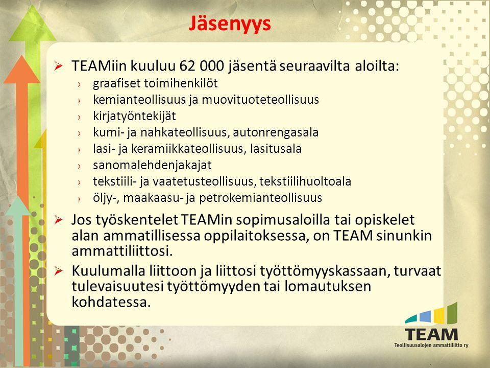Jäsenyys TEAMiin kuuluu 62 000 jäsentä seuraavilta aloilta: