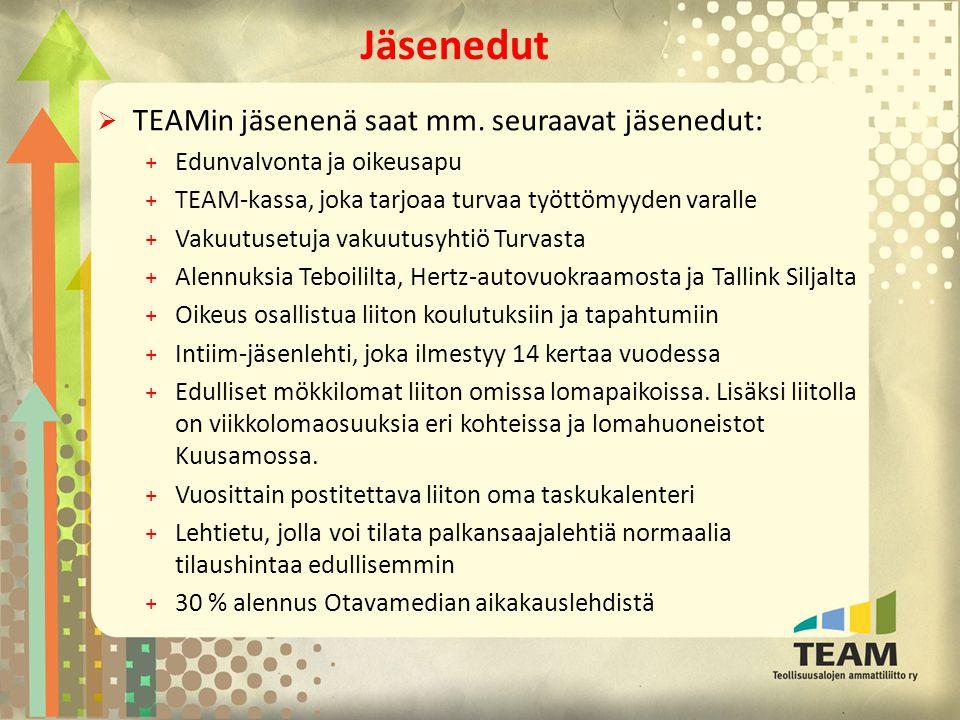 Jäsenedut TEAMin jäsenenä saat mm. seuraavat jäsenedut:
