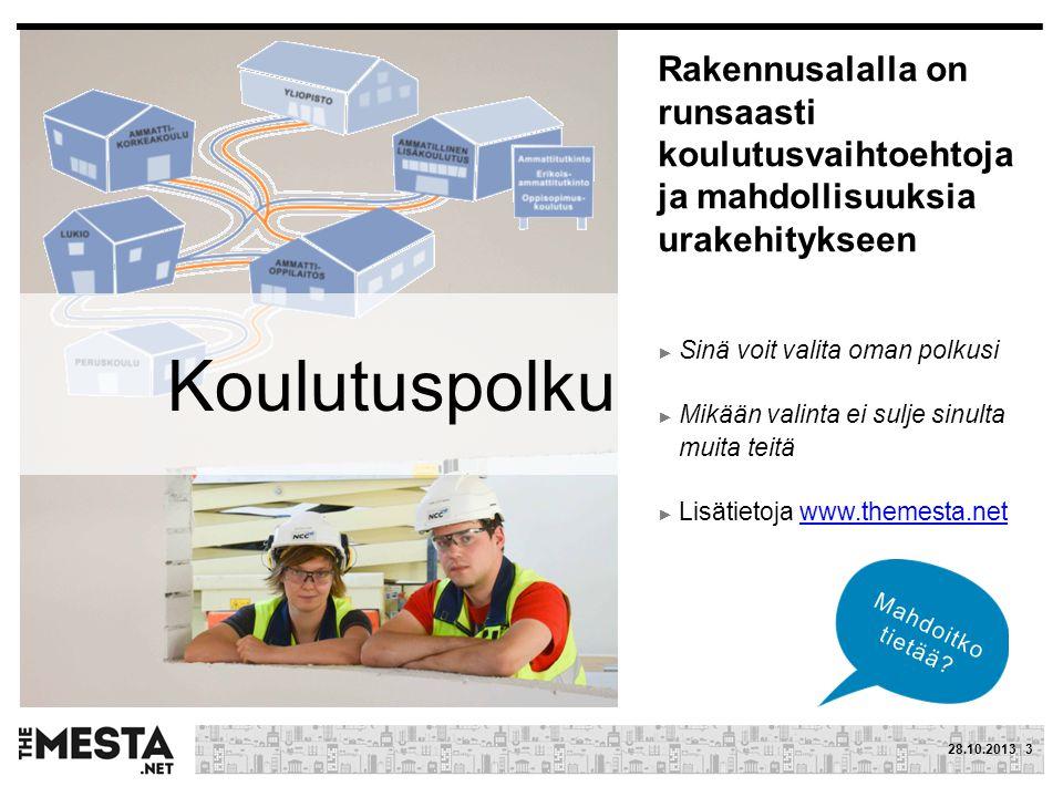 Rakennusalalla on runsaasti koulutusvaihtoehtoja ja mahdollisuuksia urakehitykseen