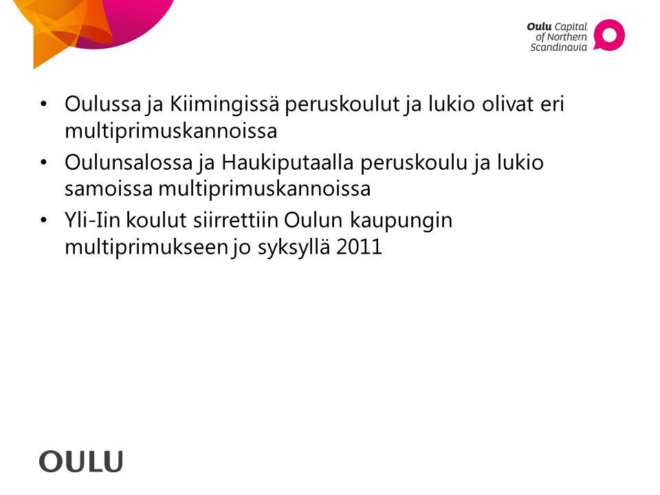 Oulussa ja Kiimingissä peruskoulut ja lukio olivat eri multiprimuskannoissa