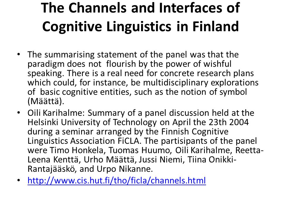 The Channels and Interfaces of Cognitive Linguistics in Finland