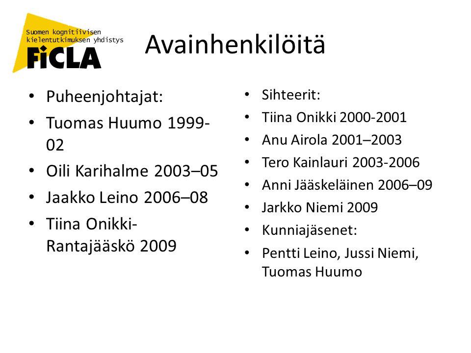Avainhenkilöitä Puheenjohtajat: Tuomas Huumo 1999-02