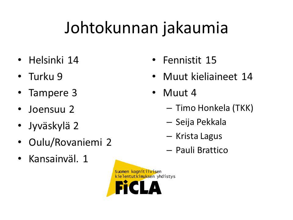 Johtokunnan jakaumia Helsinki 14 Turku 9 Tampere 3 Joensuu 2