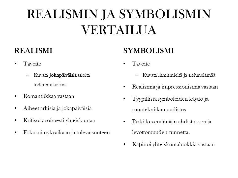 REALISMIN JA SYMBOLISMIN VERTAILUA