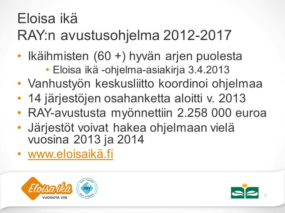 Eloisa ikä RAY:n avustusohjelma 2012-2017