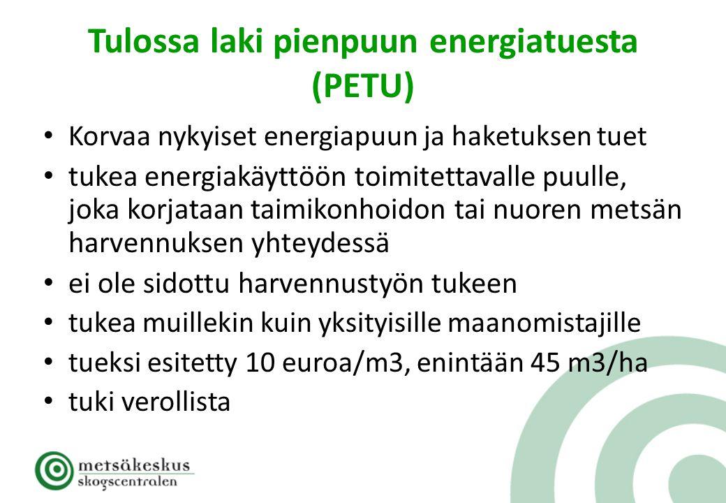 Tulossa laki pienpuun energiatuesta (PETU)