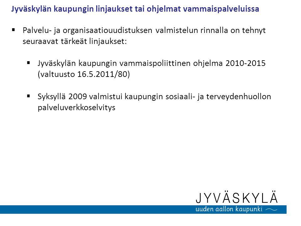 Jyväskylän kaupungin linjaukset tai ohjelmat vammaispalveluissa