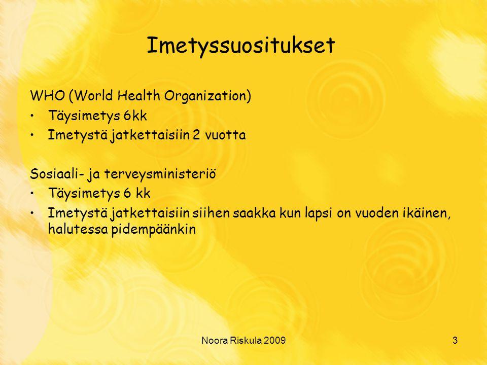 Imetyssuositukset WHO (World Health Organization) Täysimetys 6kk