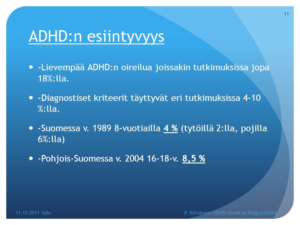 ADHD:n esiintyvyys -Lievempää ADHD:n oireilua joissakin tutkimuksissa jopa 18%:lla.