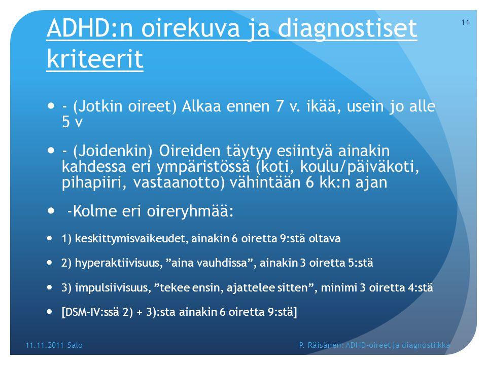 ADHD:n oirekuva ja diagnostiset kriteerit