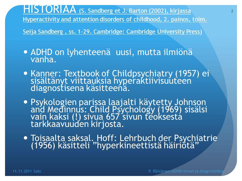HISTORIAA (S. Sandberg et J