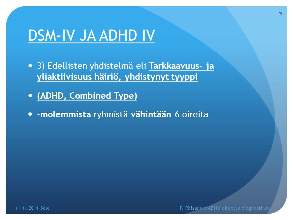 DSM-IV JA ADHD IV 3) Edellisten yhdistelmä eli Tarkkaavuus- ja yliaktiivisuus häiriö, yhdistynyt tyyppi.