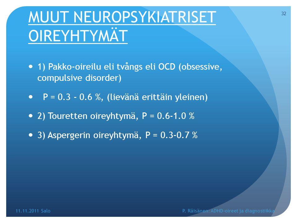 MUUT NEUROPSYKIATRISET OIREYHTYMÄT