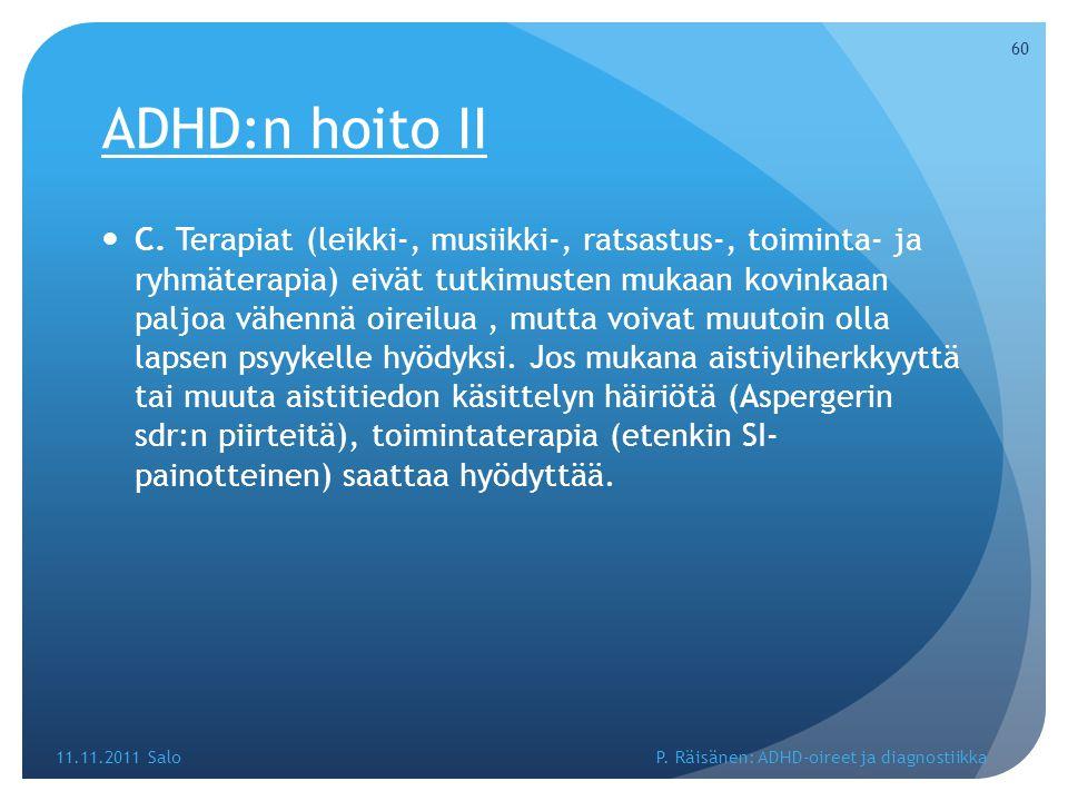 ADHD:n hoito II