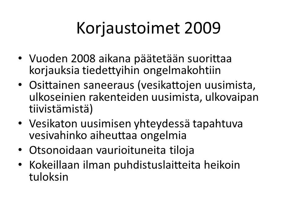 Korjaustoimet 2009 Vuoden 2008 aikana päätetään suorittaa korjauksia tiedettyihin ongelmakohtiin.