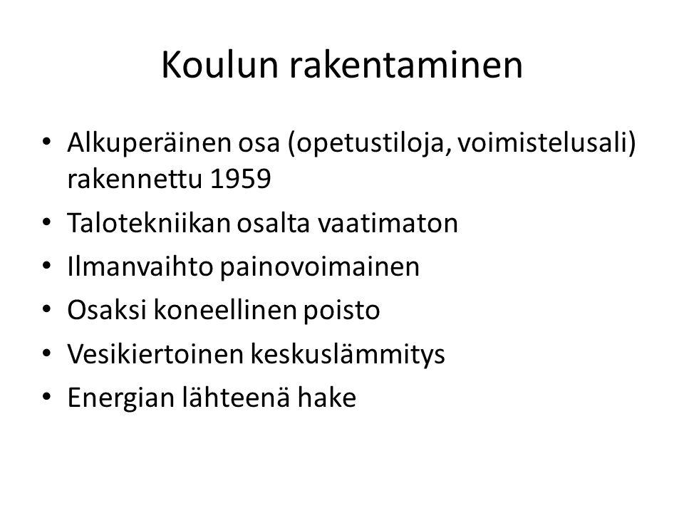 Koulun rakentaminen Alkuperäinen osa (opetustiloja, voimistelusali) rakennettu 1959. Talotekniikan osalta vaatimaton.
