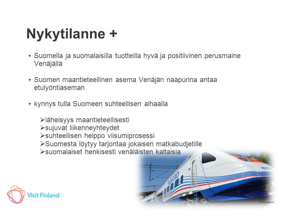 Nykytilanne + Suomella ja suomalaisilla tuotteilla hyvä ja positiivinen perusmaine Venäjällä.