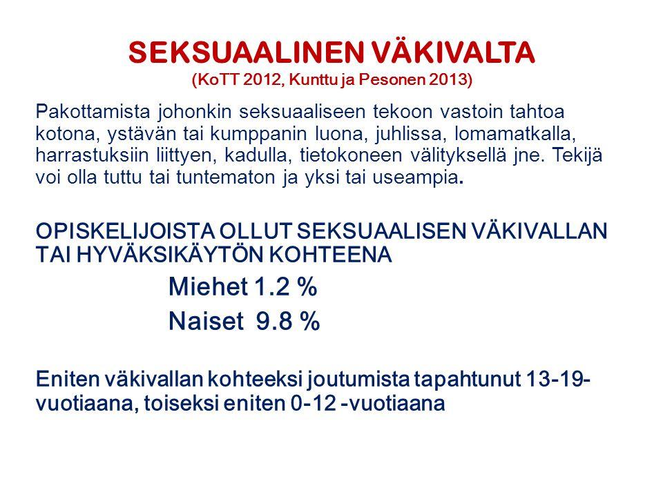 SEKSUAALINEN VÄKIVALTA (KoTT 2012, Kunttu ja Pesonen 2013)